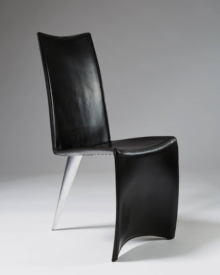 Scandinavian Modern Set of Six Chairs 'J Serie Lang' Designed by Philippe Starck for Aleph, Italy For Sale