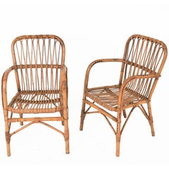 Set of Six Chairs Midcentury Franco Albini Style Armchairs, Bamboo and Wicker