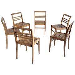 Set of Six Chairs of René Gabriel, French Reconstruction, 1945