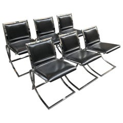 Set of Six Chairs Willy Rizzo Style, Steel Structure and Black Eco Leather, 1970