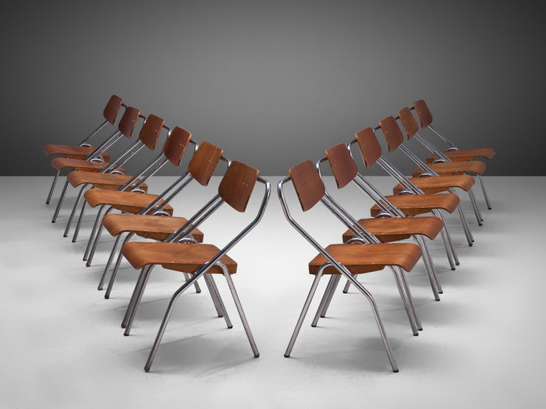 Mid-20th Century Set of Six Chairs with Tubular Frame For Sale