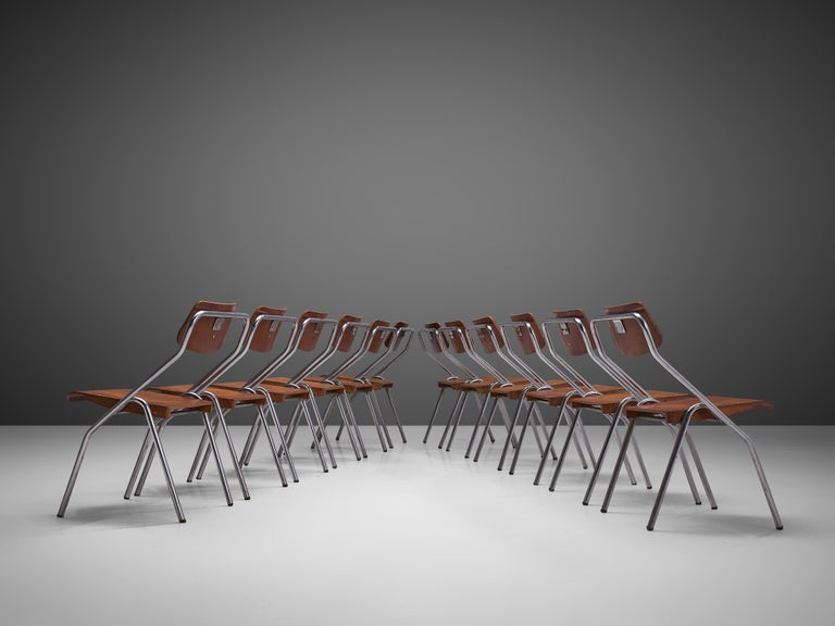 Set of Six Chairs with Tubular Frame For Sale 1