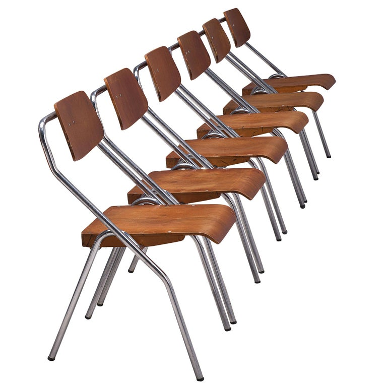 Set of Six Chairs with Tubular Frame For Sale
