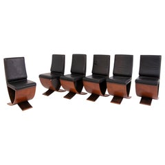Set of Six Chairs, Wood and Leather by Maxalto, 1970s