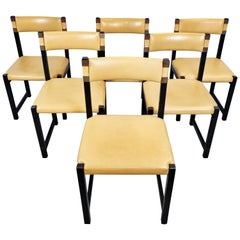 Set of Six Chairs, Wood and Leather, circa 1970