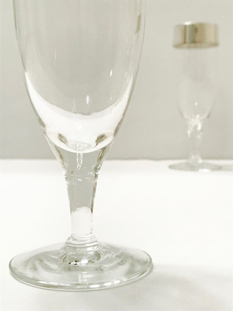 Set of Six Champagne Flutes with Sterling Silver Overlay by Dorothy Thorpe, 1950 For Sale 5
