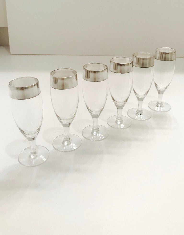 Mid-Century Modern Set of Six Champagne Flutes with Sterling Silver Overlay by Dorothy Thorpe, 1950 For Sale