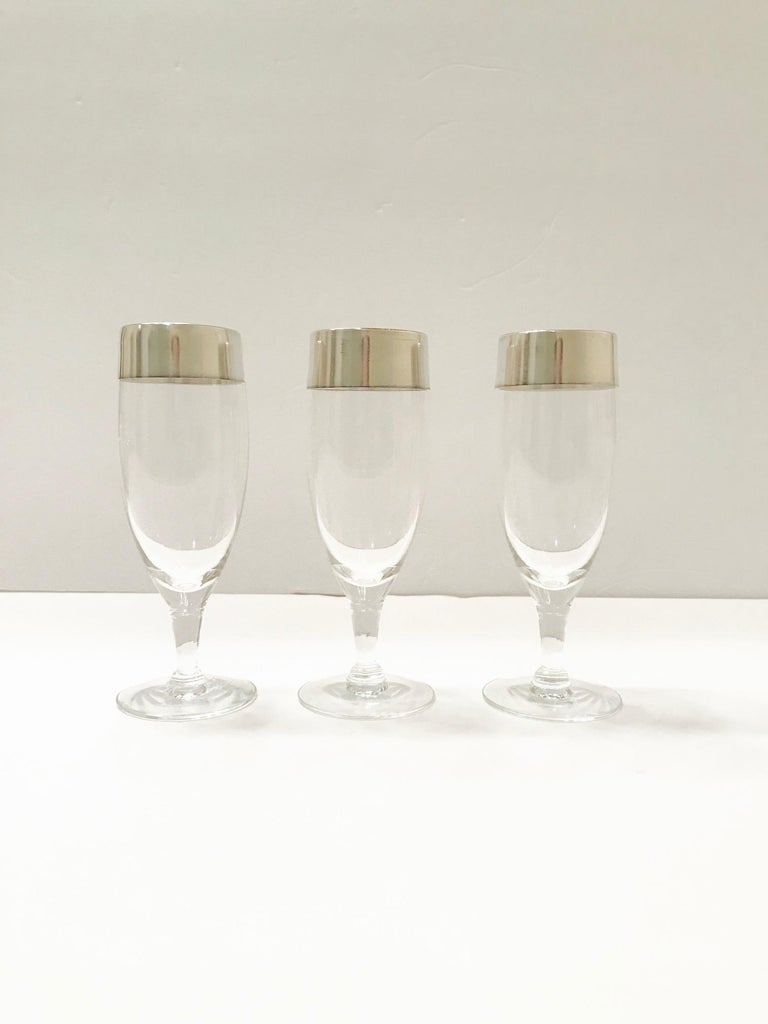American Set of Six Champagne Flutes with Sterling Silver Overlay by Dorothy Thorpe, 1950 For Sale