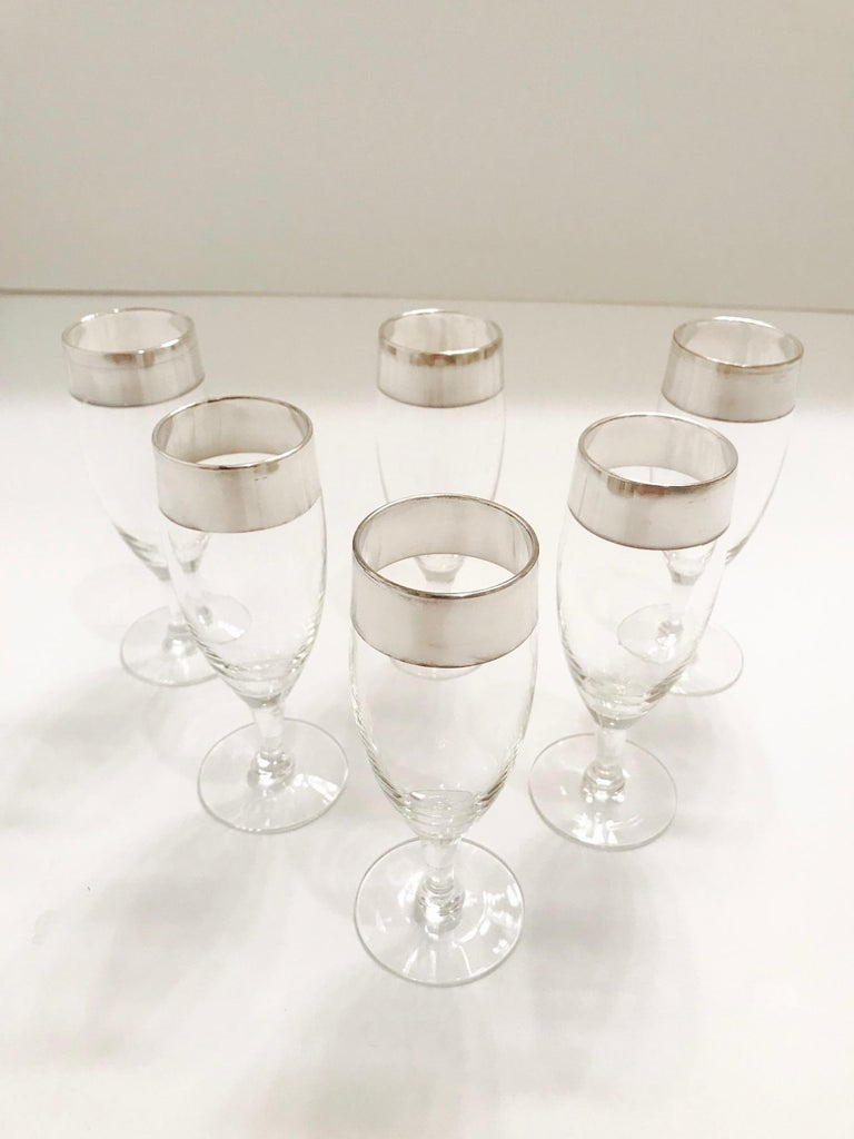 Set of Six Champagne Flutes with Sterling Silver Overlay by Dorothy Thorpe, 1950 In Good Condition For Sale In Miami, FL