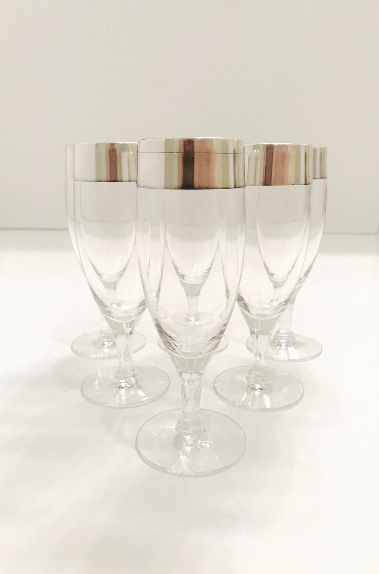 Mid-20th Century Set of Six Champagne Flutes with Sterling Silver Overlay by Dorothy Thorpe, 1950 For Sale