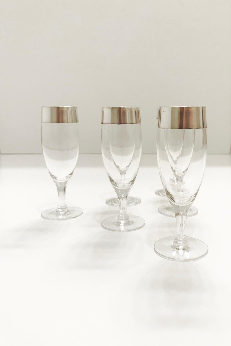 Set of Six Champagne Flutes with Sterling Silver Overlay by Dorothy Thorpe, 1950 For Sale 1
