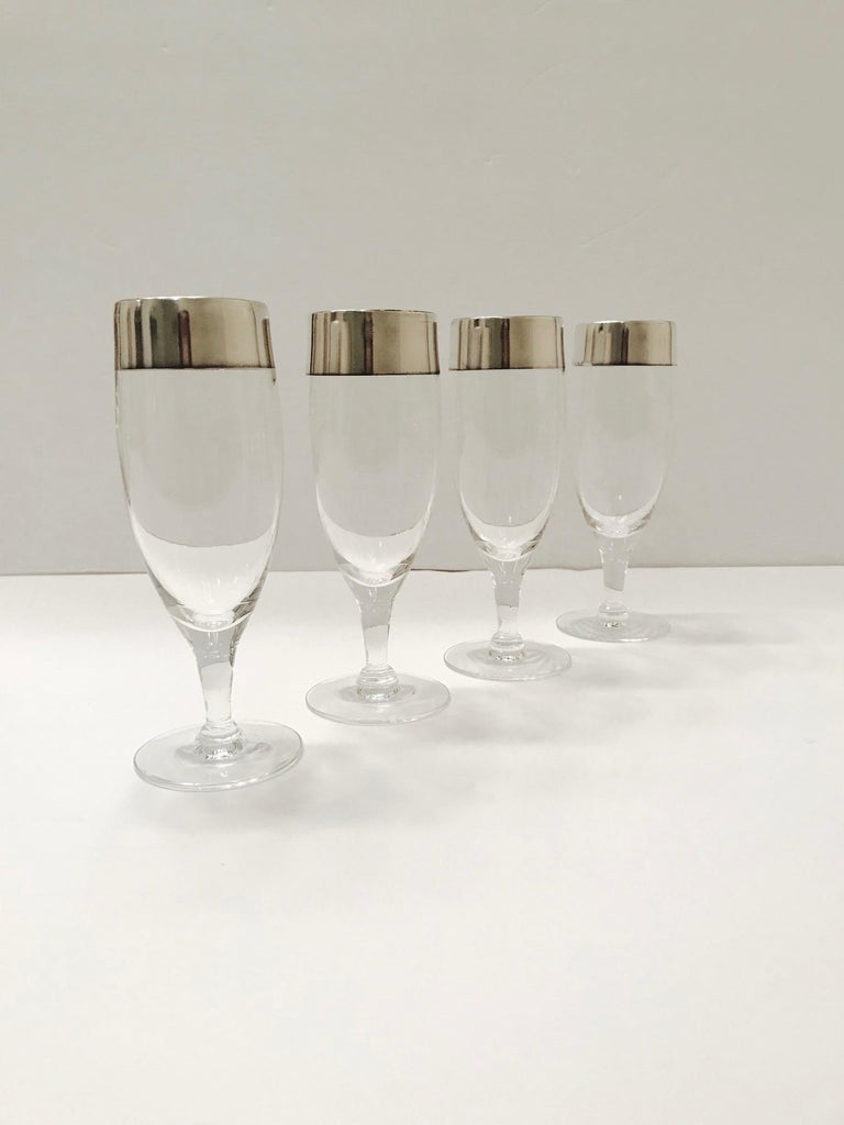 Set of Six Champagne Flutes with Sterling Silver Overlay by Dorothy Thorpe, 1950 For Sale 2
