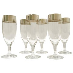 Set of Six Champagne Flutes with Sterling Silver Overlay by Dorothy Thorpe, 1950