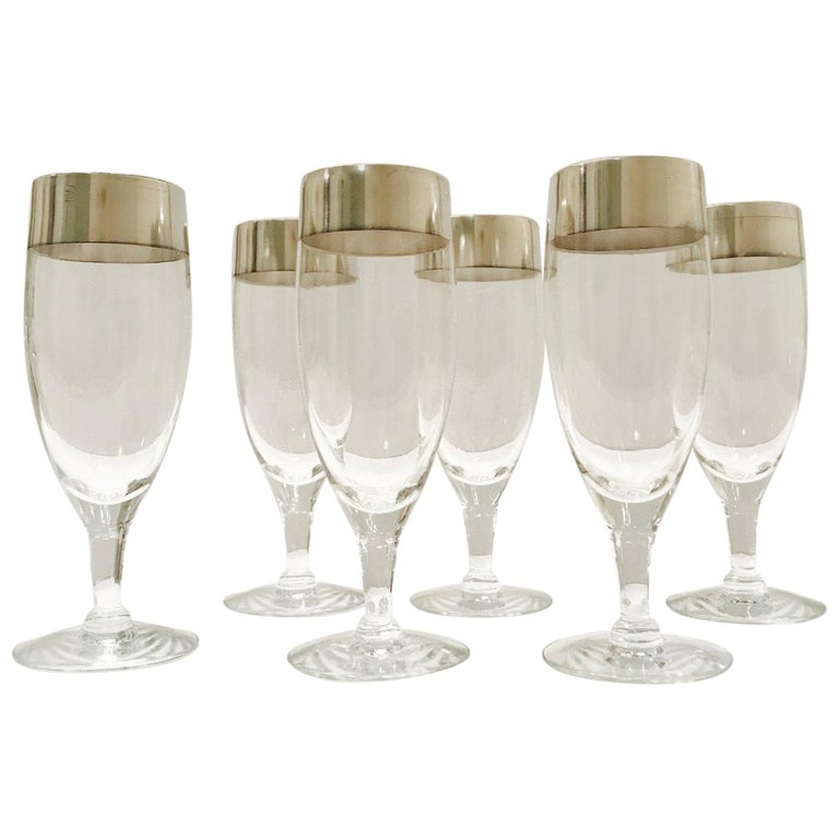 Set of Six Champagne Flutes with Sterling Silver Overlay by Dorothy Thorpe, 1950 For Sale