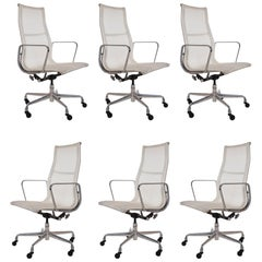 Set of Six Charles Eames for Herman Miller White Conference Room Office Chairs