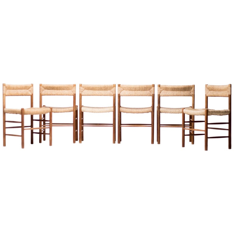 """Set of Six Charlotte Perriand """"Dordogne"""" Chairs"""
