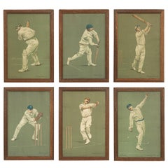 Set of Six Chevallier Tayler Cricket Prints of Famous Cricketers, W.G Grace