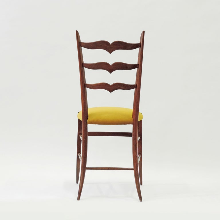 Set of six Chiavari dining chairs in wood with yellow velvet seat, Italy, 1950s. Attributed to Chiappe, Chiavari.