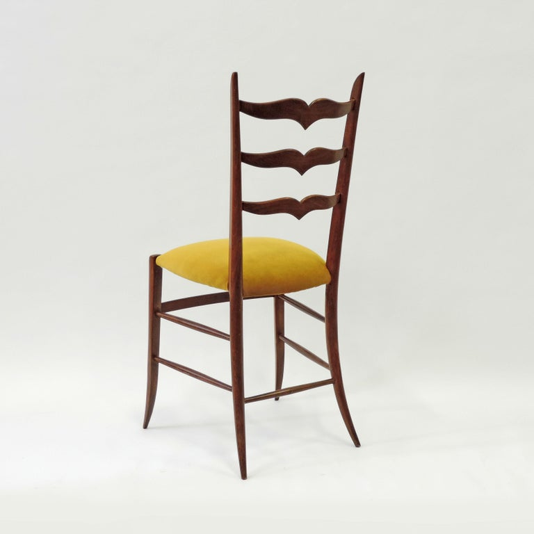 Italian Set of Six Chiavari Dining Chairs in Wood and Yellow Velvet Seat, Italy, 1950s For Sale
