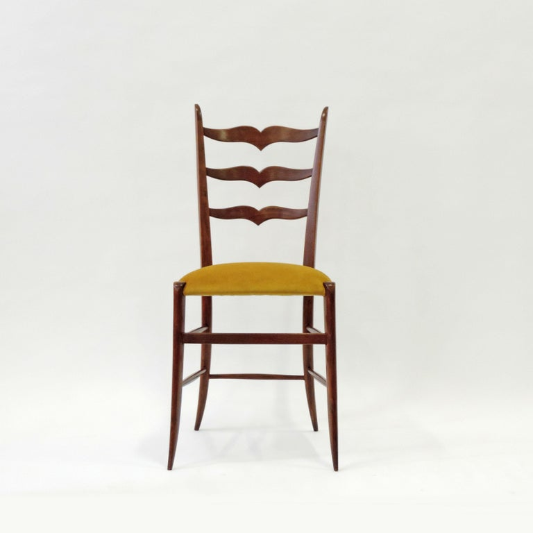 Set of Six Chiavari Dining Chairs in Wood and Yellow Velvet Seat, Italy, 1950s In Good Condition For Sale In Milan, IT