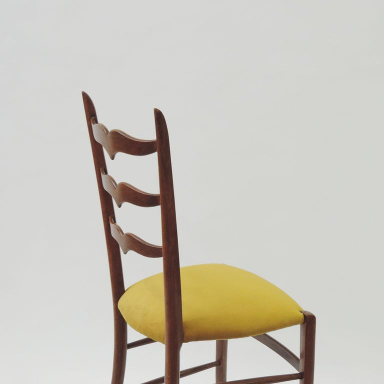 Upholstery Set of Six Chiavari Dining Chairs in Wood and Yellow Velvet Seat, Italy, 1950s For Sale