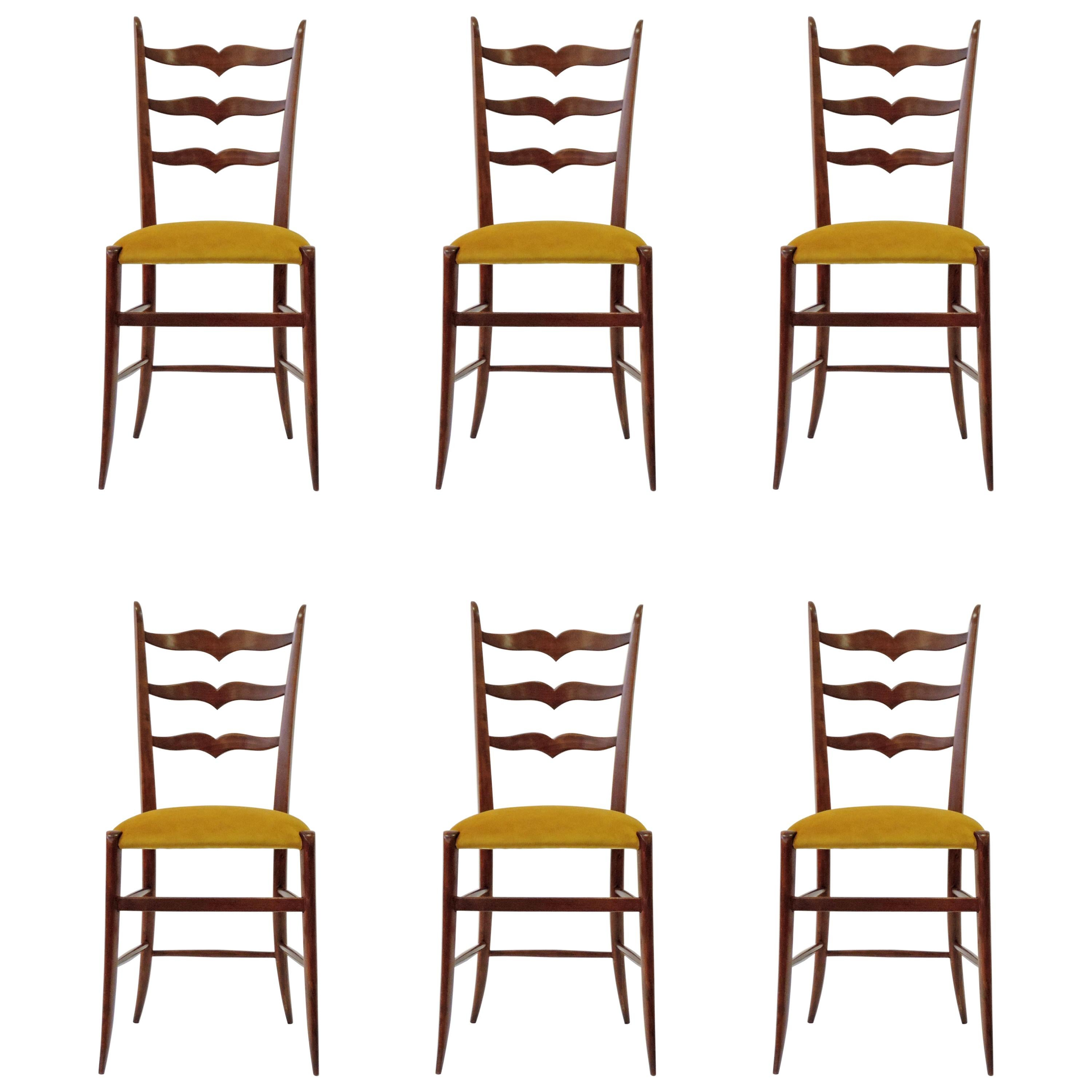 Set of Six Chiavari Dining Chairs in Wood and Yellow Velvet Seat, Italy, 1950s