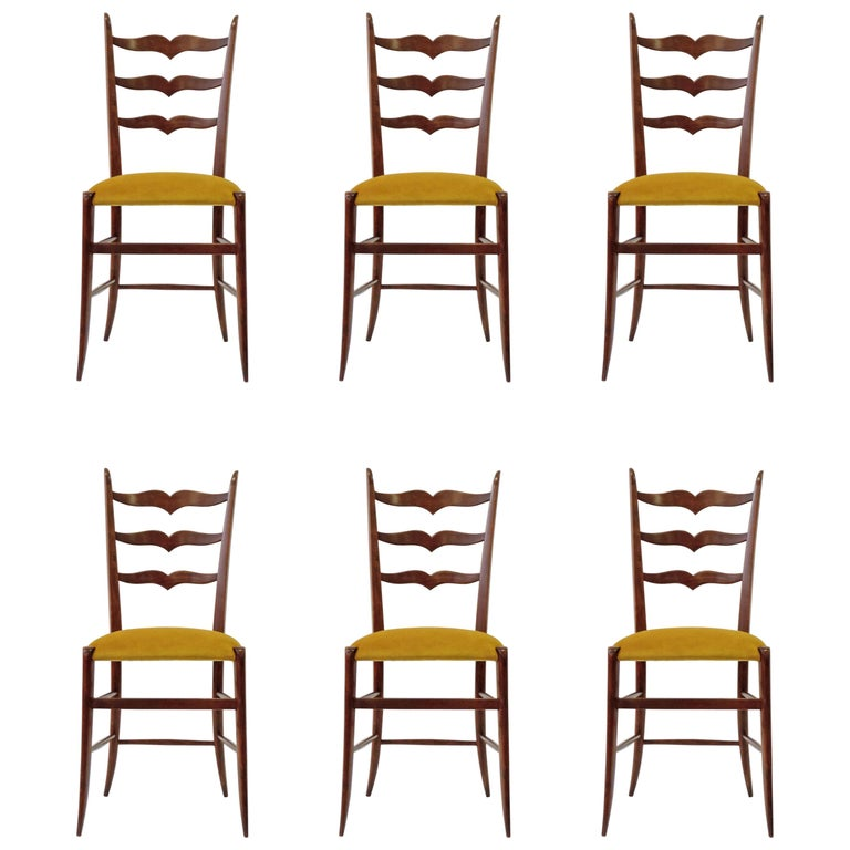 Set of Six Chiavari Dining Chairs in Wood and Yellow Velvet Seat, Italy, 1950s For Sale