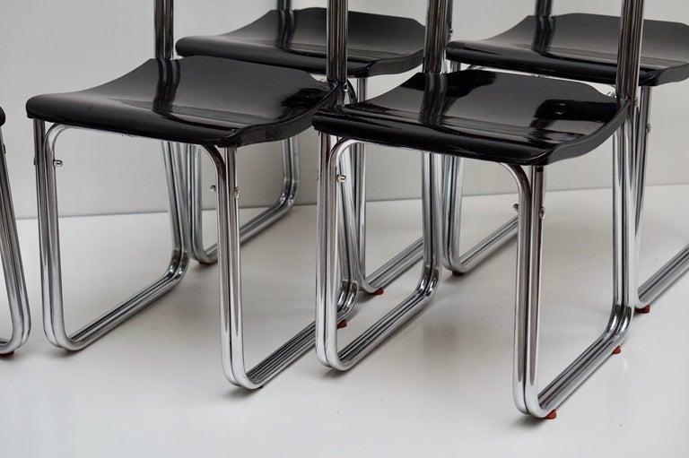 Set of Six Chic Ebonized Modernist Chroom Bauhaus Chairs For Sale 4