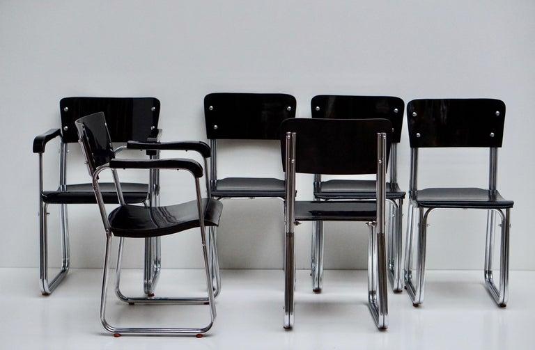 Set of Six Chic Ebonized Modernist Chroom Bauhaus Chairs For Sale 6