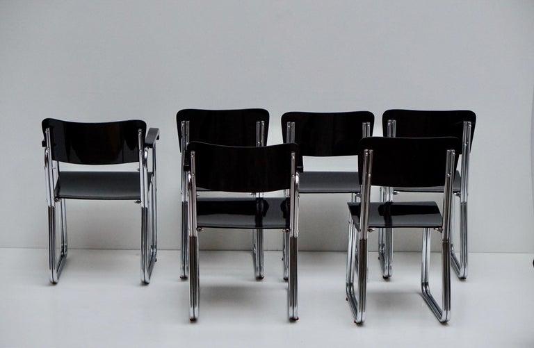 Set of Six Chic Ebonized Modernist Chroom Bauhaus Chairs For Sale 7