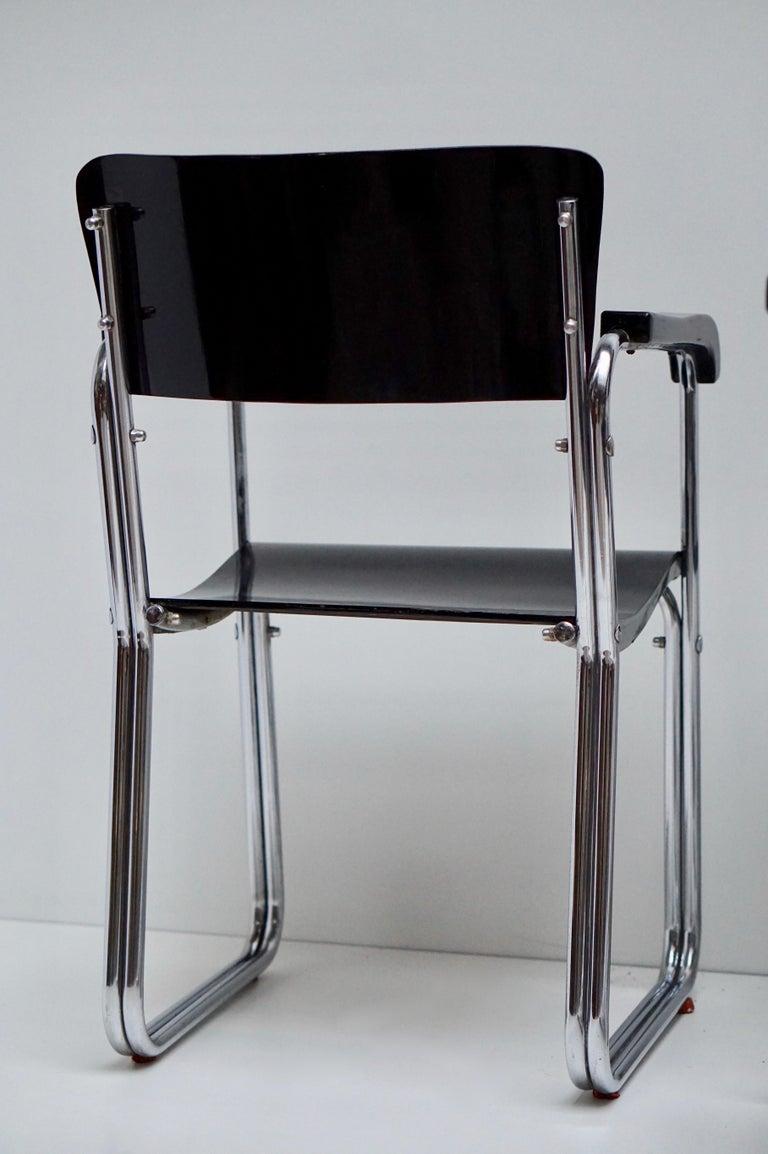 Set of Six Chic Ebonized Modernist Chroom Bauhaus Chairs For Sale 8