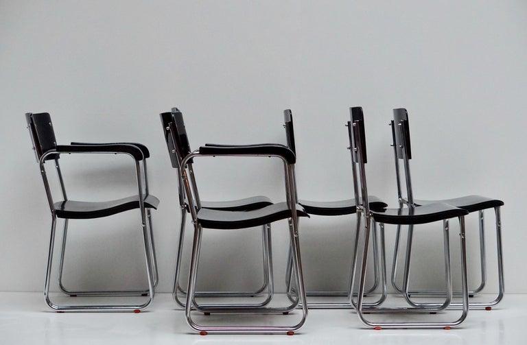 Set of Six Chic Ebonized Modernist Chroom Bauhaus Chairs For Sale 9
