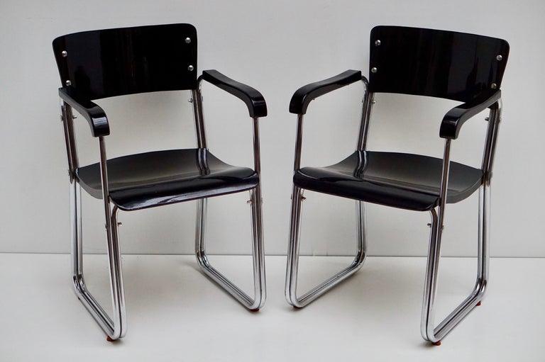 Set of Six Chic Ebonized Modernist Chroom Bauhaus Chairs For Sale 10