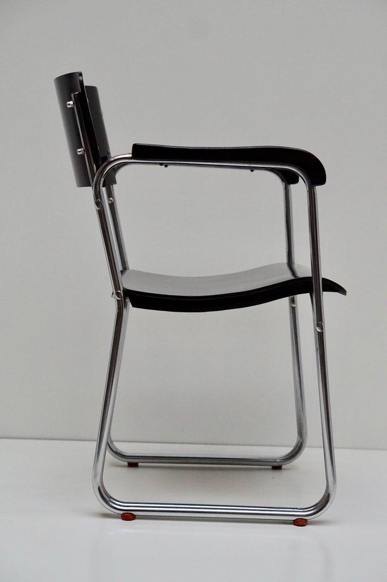 Set of Six Chic Ebonized Modernist Chroom Bauhaus Chairs For Sale 11