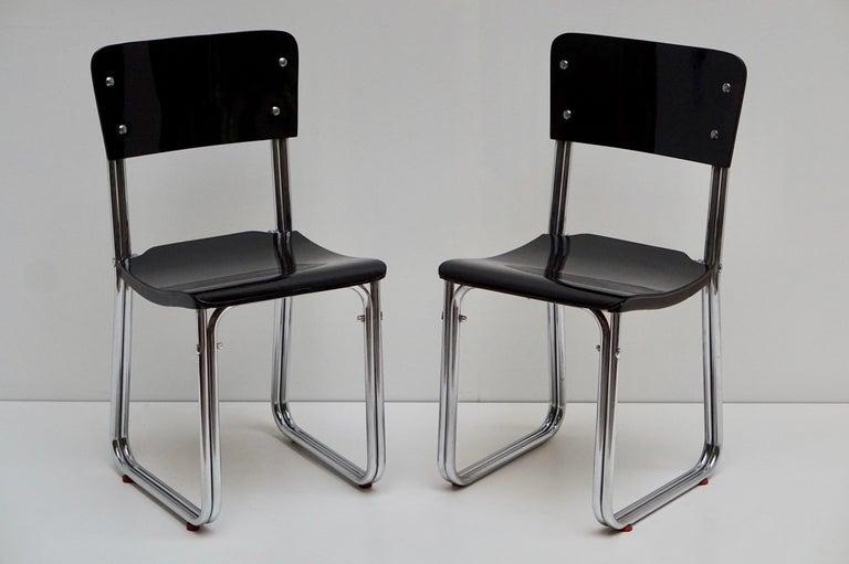 Set of Six Chic Ebonized Modernist Chroom Bauhaus Chairs For Sale 12
