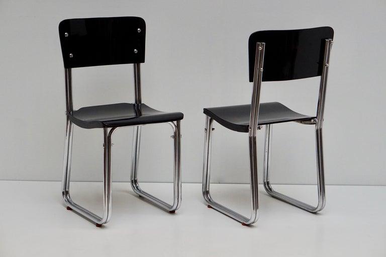 Set of Six Chic Ebonized Modernist Chroom Bauhaus Chairs For Sale 13