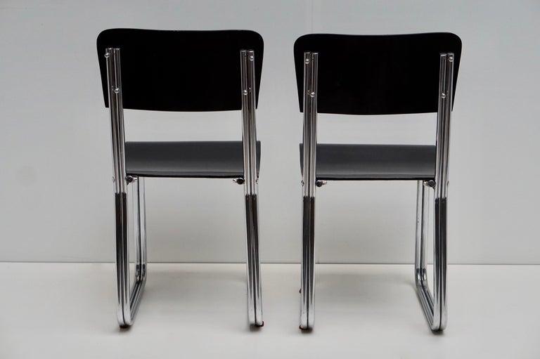 Set of Six Chic Ebonized Modernist Chroom Bauhaus Chairs For Sale 14