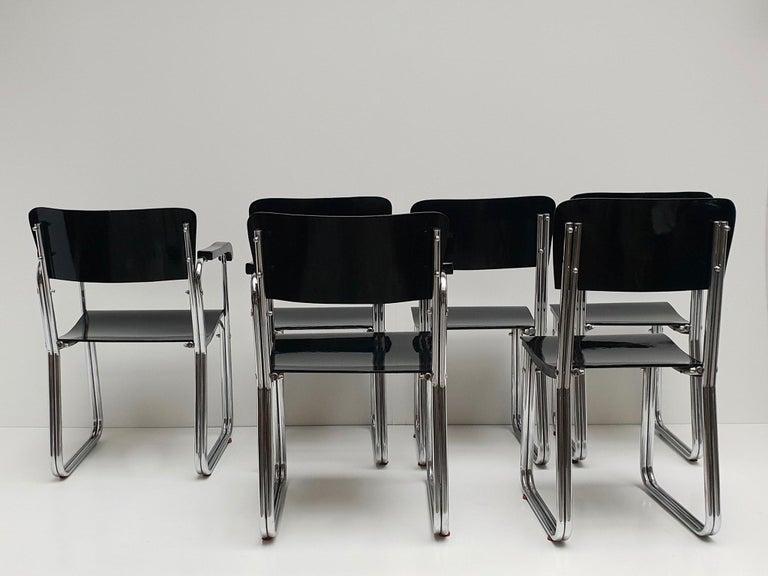 German Set of Six Chic Ebonized Modernist Chroom Bauhaus Chairs For Sale