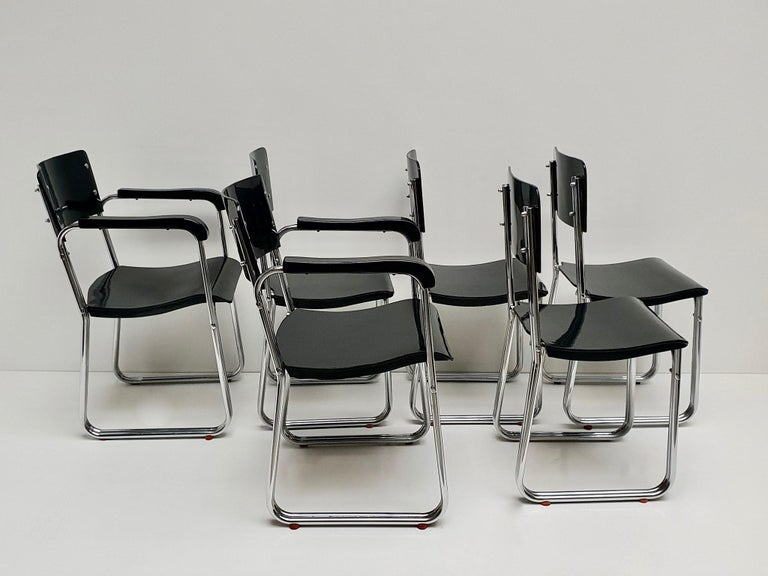Set of Six Chic Ebonized Modernist Chroom Bauhaus Chairs In Good Condition For Sale In Antwerp, BE