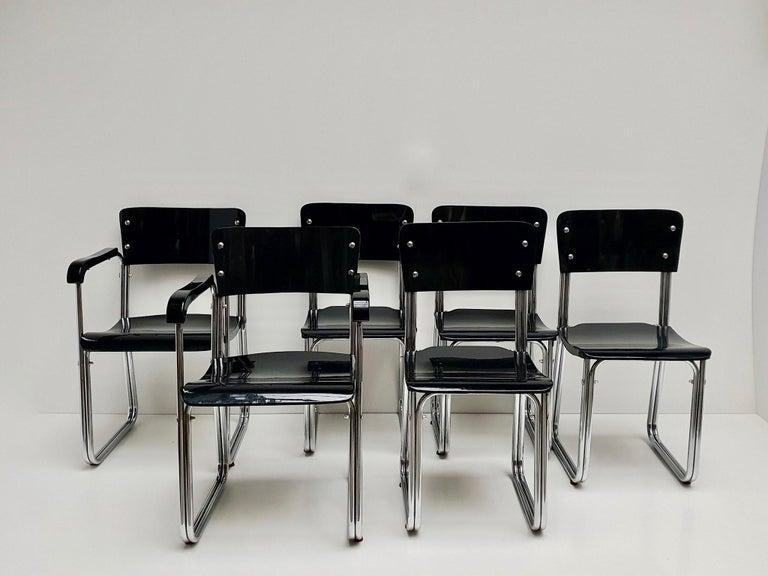 20th Century Set of Six Chic Ebonized Modernist Chroom Bauhaus Chairs For Sale
