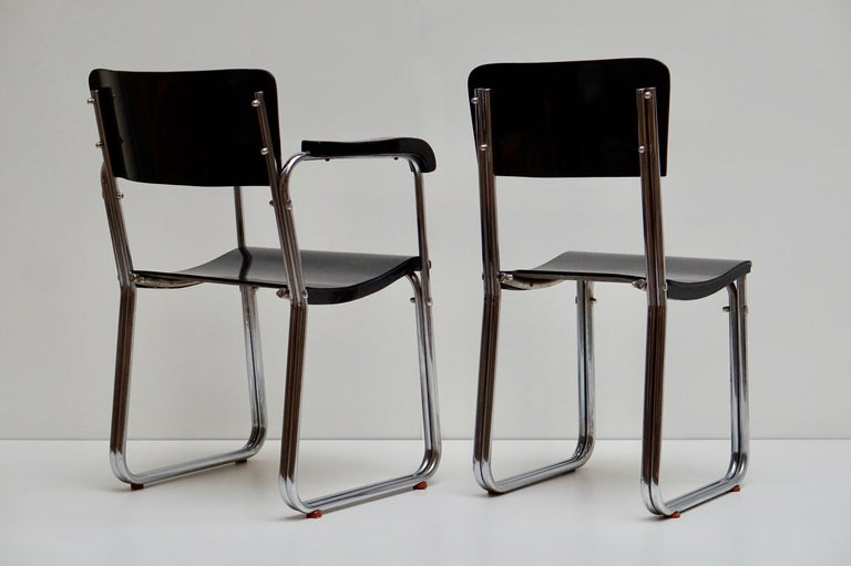 Metal Set of Six Chic Ebonized Modernist Chroom Bauhaus Chairs For Sale