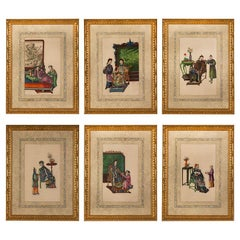 Set of Six Chinese Canton Watercolours on Pith Paper Depicting Interior Scenes