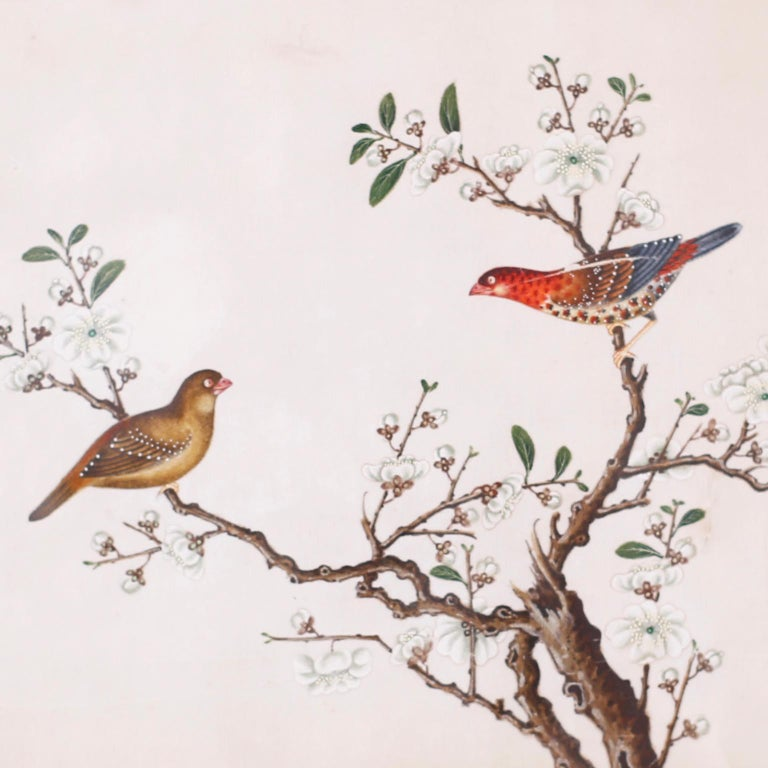 Set of Six Chinese Watercolors of Song Birds For Sale 5