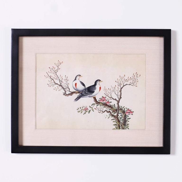 Set of Six Chinese Watercolors of Song Birds For Sale 6