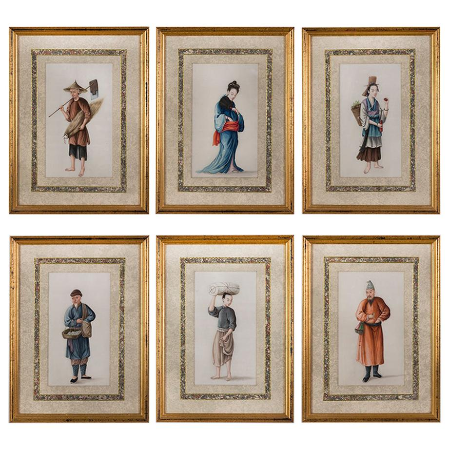 Set of Six Chinese Watercolours on Pith Paper Depicting Artisans Canton, 1835