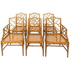 Set of Six Chinoiserie Bamboo Side Chairs