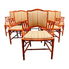 Set of Six Chippendale Style Faux Bamboo Dining Chairs