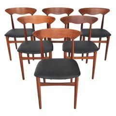 Set of Six Christian Linneberg Danish Modern Midcentury Dining Chairs in Teak