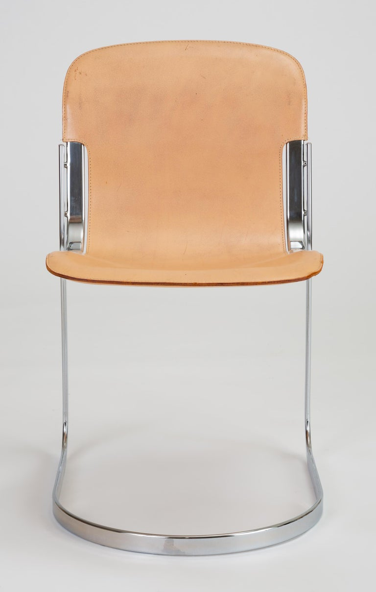 Mid-Century Modern Set of Six Chrome and Leather Dining Chairs by Willy Rizzo for Cidue For Sale