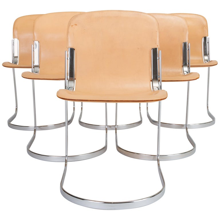 Set of Six Chrome and Leather Dining Chairs by Willy Rizzo for Cidue For Sale